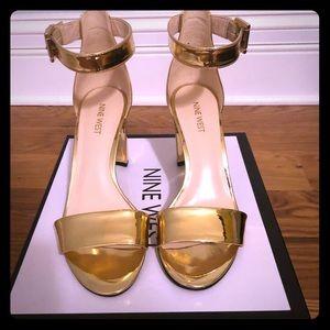 Nine West, Gold Nora Dress Sandal, Size 8